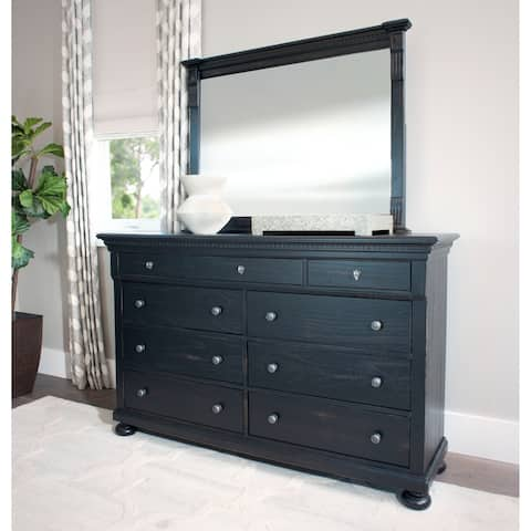 Abbyson Hendrick Distressed Black Solid Wood 9 Drawer Dresser and/ or Mirror