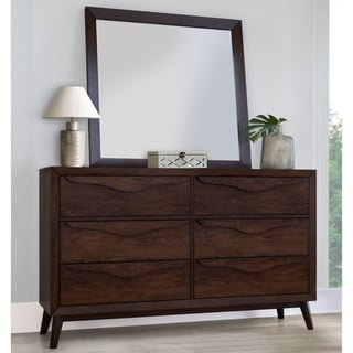 Abbyson Alton Six Drawer Brown Wood Mid-Century Dresser and/ or Mirror
