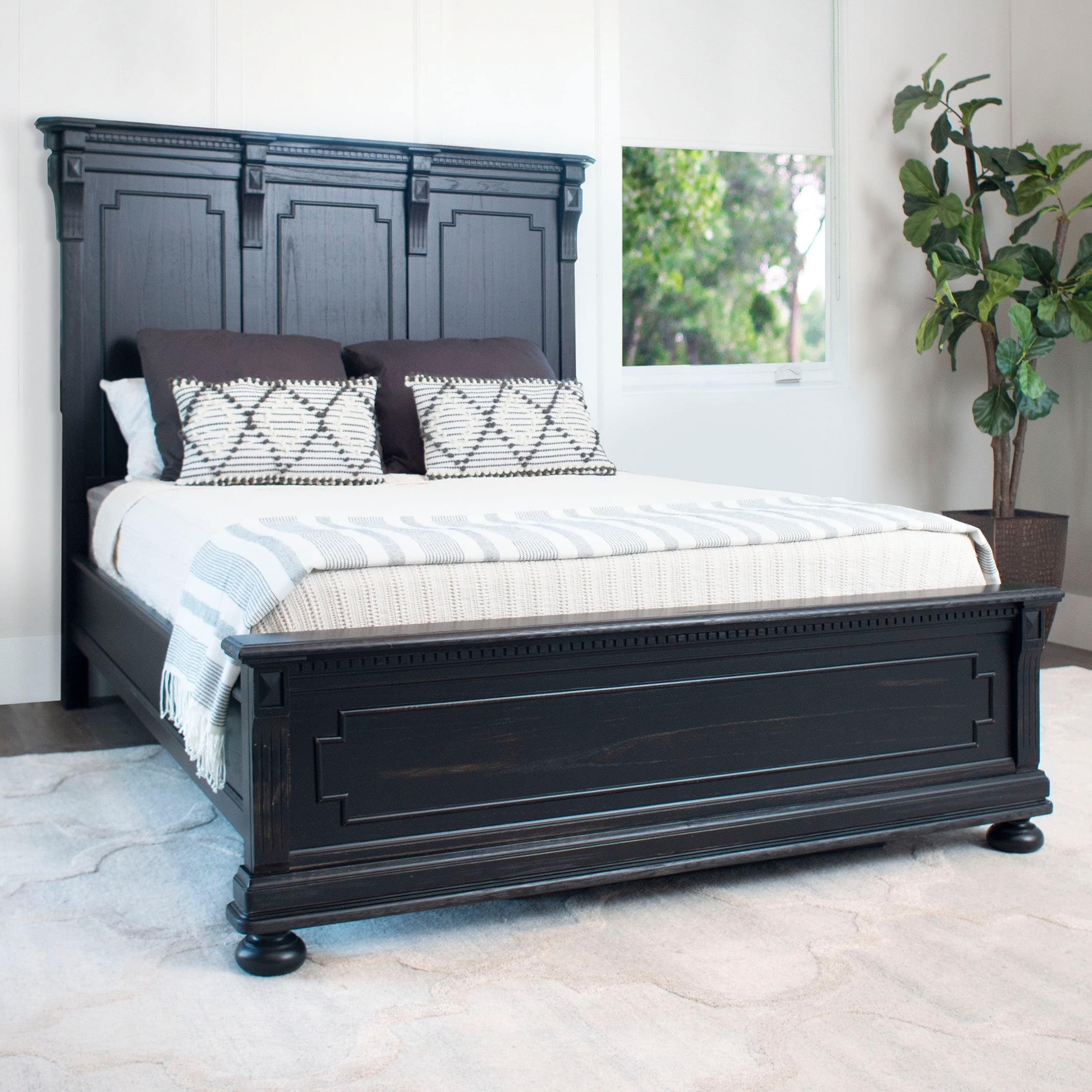Abbyson Hendrick Distressed Black Solid Wood Bed Overstock 28077627