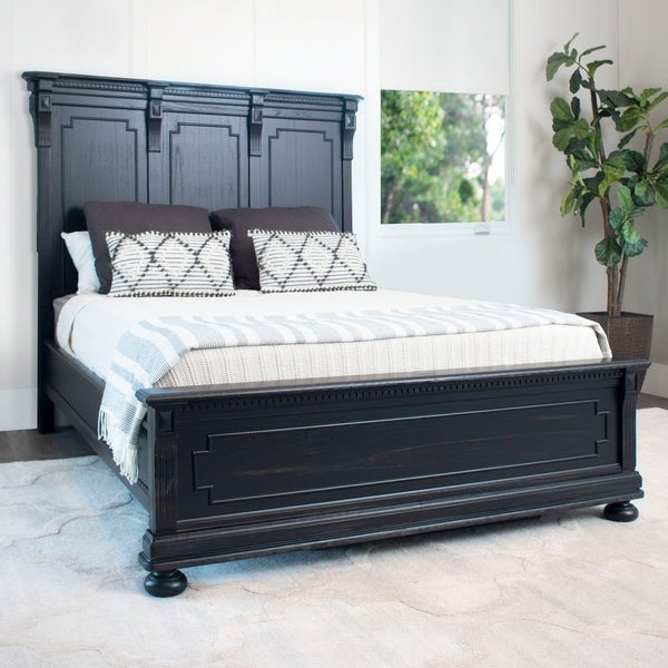 Abbyson Hendrick Distressed Black Solid Wood Bed