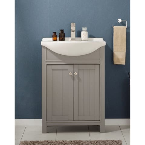 "Design Element Marian 24"" Single Sink Vanity In Gray"