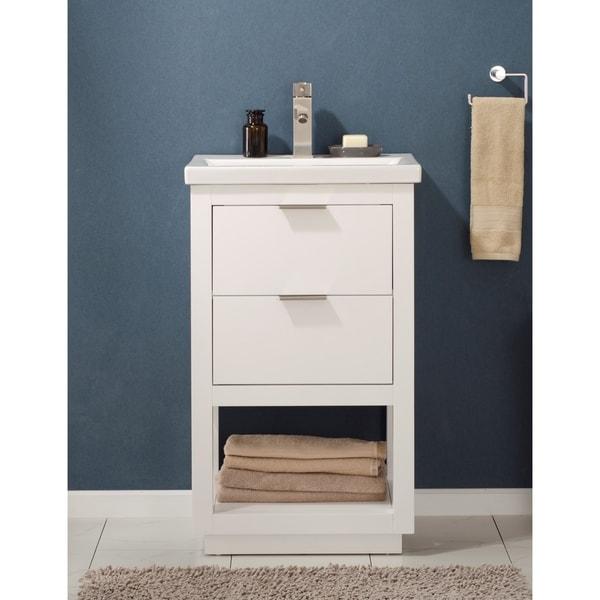 Shop Design Element Klein White Wood 20-inch Single Sink ...