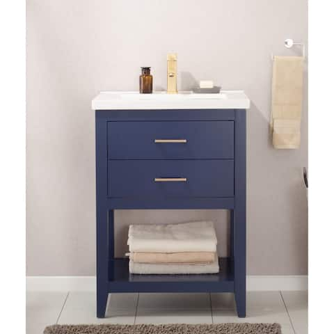 "Design Element Cara 24"" Single Sink Vanity In Blue"