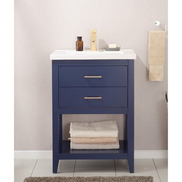 Shop Design Element Cara 24 Inch Blue Single Sink Vanity