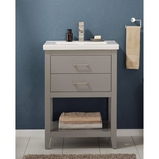 Design Element Cara Grey Hardwood/Porcelain 24-inch Single Sink Vanity