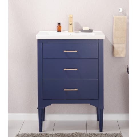 "Design Element Mason 24"" Single Sink Vanity In Blue"