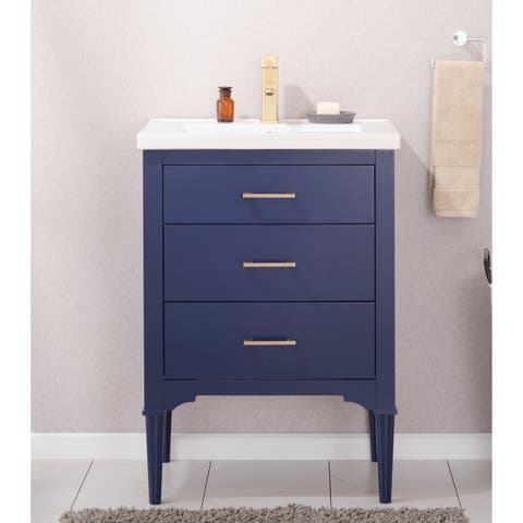 Design Element Mason Blue Wood/Ceramic 24-inch Single Sink Vanity
