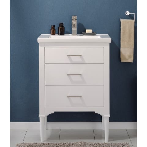 "Design Element Mason 24"" Single Sink Vanity In White"