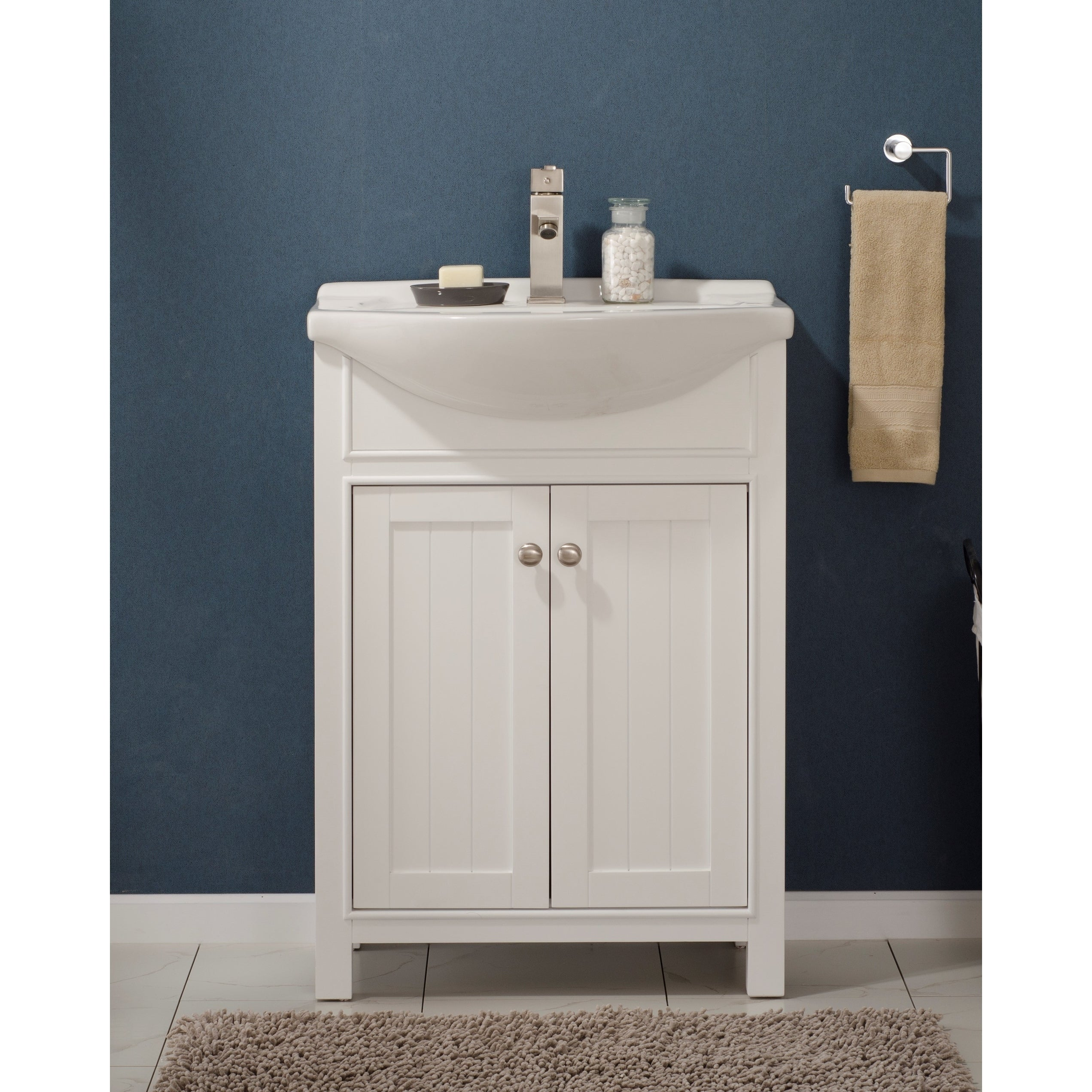 24 Inch White Wood Single Sink Vanity