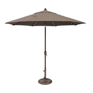 SimplyShade Lanai Pro 9 Octagon Auto Tilt Umbrella with Starlights (Taupe - Olefin Canopy)