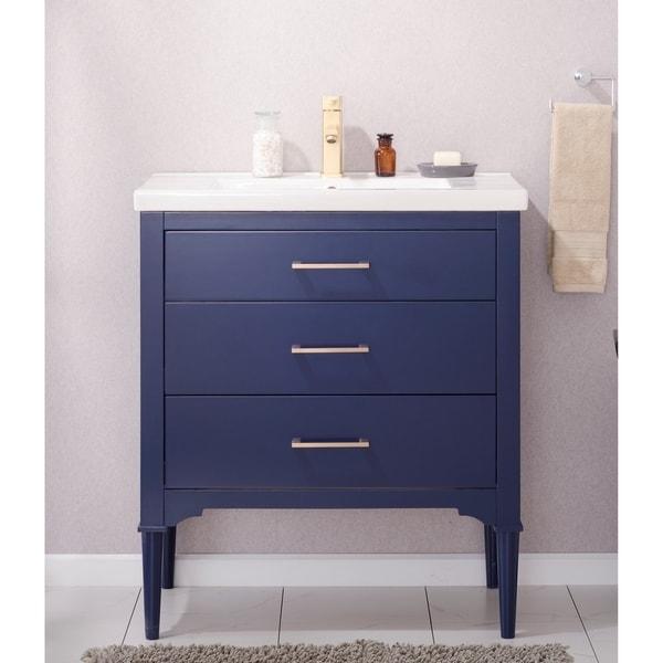 Shop Design Element Mason Blue Hardwood Porcelain 30 Inch
