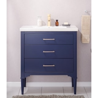 Design Element Mason Blue Hardwood/Porcelain 30-inch Single Sink Vanity