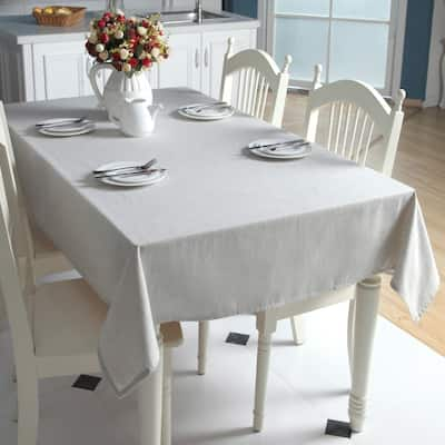 """Enova Home 54""""x 78"""" Beige High Quality Rectangle Cotton and Linen Tablecloth Table Cover"""