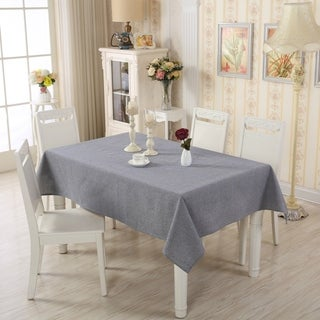 "Enova Home 54""x 78"" Light Blue Rectangle Cotton and Linen Tablecloth Table Cover"