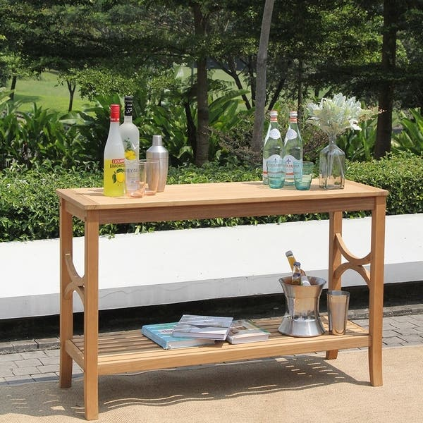 Lowell Teak Patio Console Table By