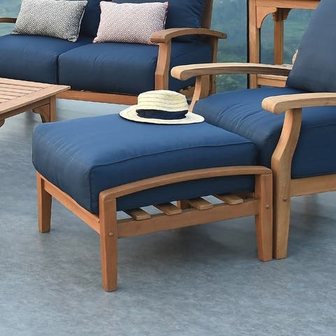 Leon Teak Patio Ottoman with Cushion by Havenside Home