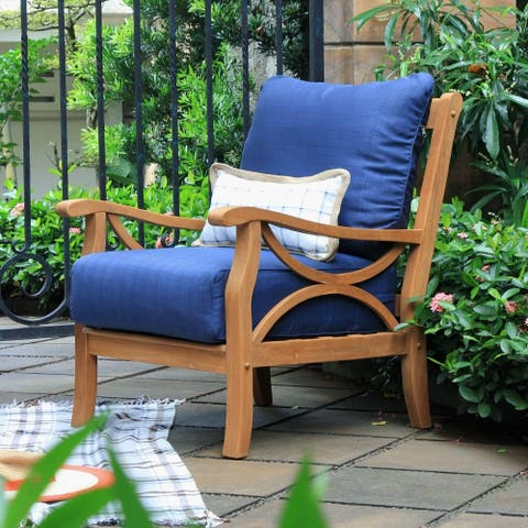 Havenside Home Lowell Teak Patio Lounge Chair with Cushion