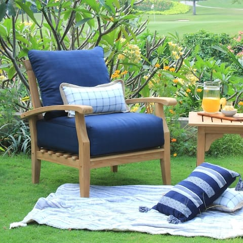 Leon Teak Patio Lounge Chair with Cushion by Havenside Home