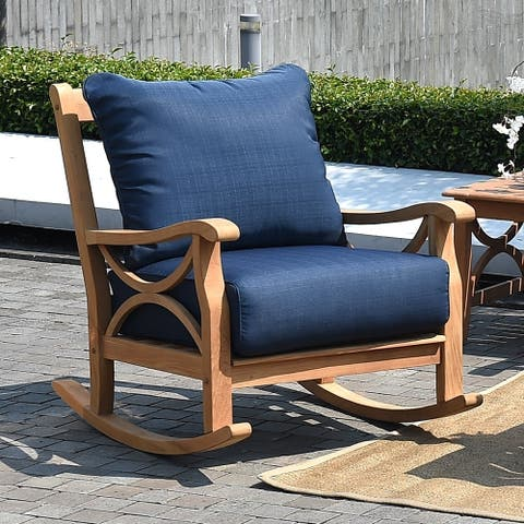 Lowell Teak Patio Rocking Chair with Cushion by Havenside Home