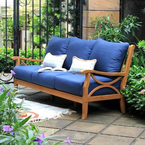 Lowell Teak Patio Sofa with Cushion by Havenside Home
