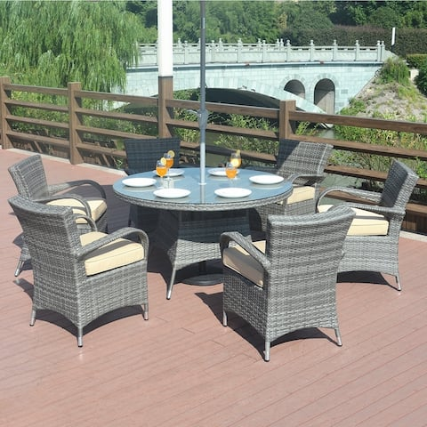 Outdoor 7 Piece Wicker Dining Set with Eton Chairs by Moda Furnishings