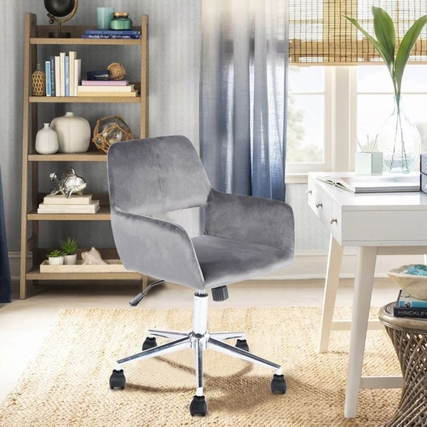 Porch & Den Sabrina Velvet Home Office Swivel Chairs   Grey by Porch & Den