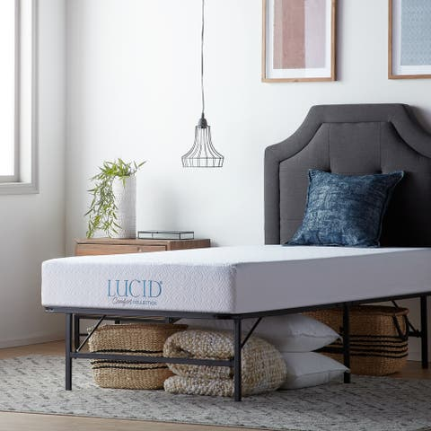 LUCID Comfort Collection 8-inch Gel Memory Foam Mattress with Platform Frame