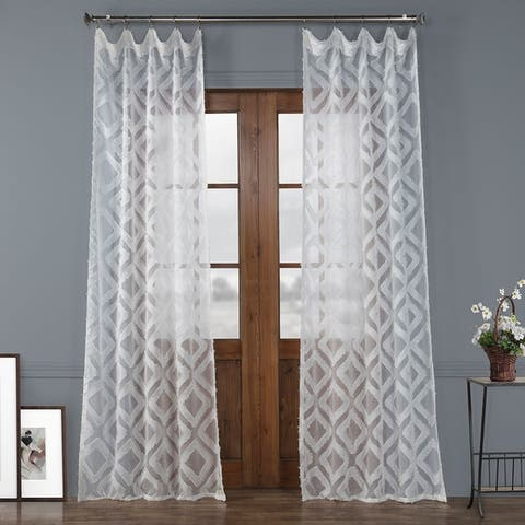 Exclusive Fabrics Capella Patterned Linen Sheer Curtain