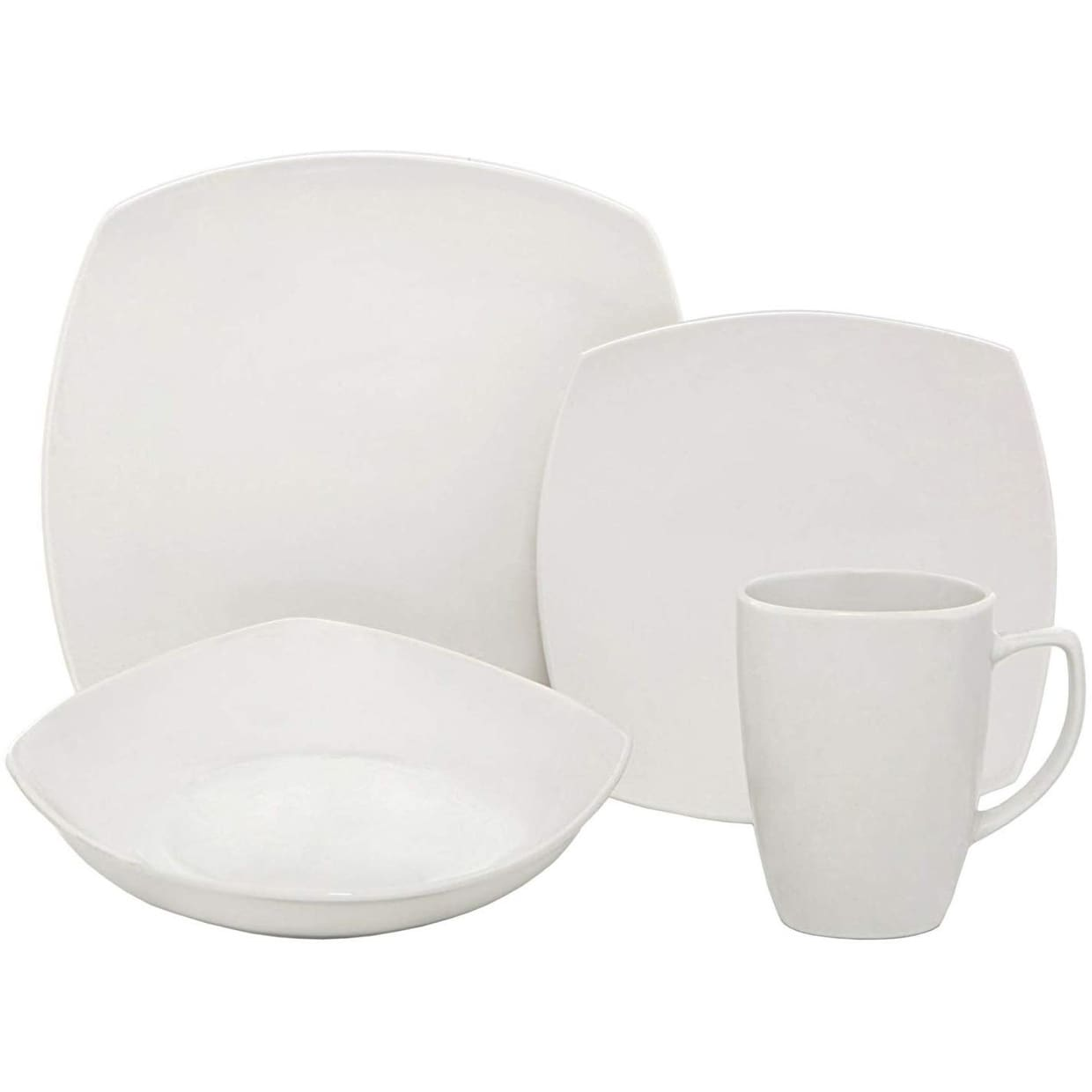 Melange 16-Pcs Square Porcelain Dinnerware Set (White), Service for 4, (16 Each)