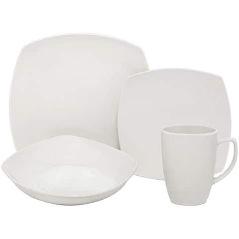 Melange 16-Pcs Square Porcelain Dinnerware Set (White), Service for 4, (16 Each)