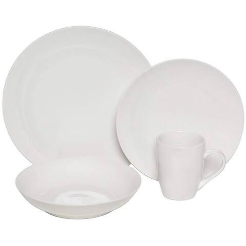 Melange Coupe 16-Pcs Porcelain Dinnerware Set (White), Service for 4, (4 Each)