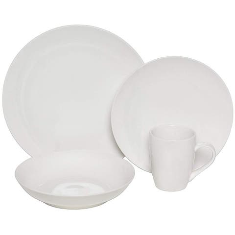 Melange Coupe 16-Pcs Porcelain Dinnerware Set (White), Service for 4, (4 Each)