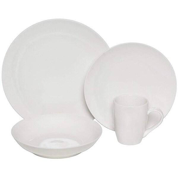 Melange Coupe 16-Pcs Porcelain Dinnerware Set (White), Service for 4, (4 Each). Opens flyout.