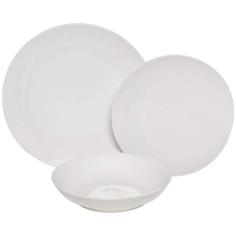 Melange Coupe 18-Pcs Porcelain Dinnerware Set (White), Service for 6,Dinner Plate, Salad Plate, Soup Bowl (6 Each)