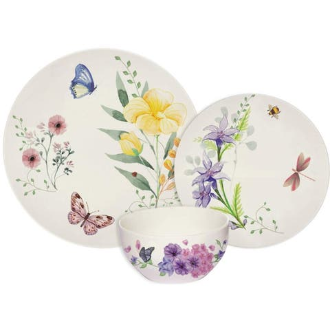Melange 18-Pcs Place Setting Premium Porcelain Dinnerware Set (Butterfly Garden Collection), Service for 12, (12 Each)