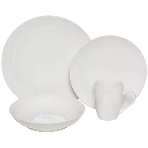 Melange Coupe 32-Pcs Porcelain Dinnerware Set (White), Service for 8, (8 Each)