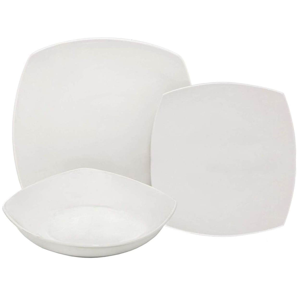 Ceramic Dinnerware Set of Dessert Dinner Plates and Soup Serving-Salad Bowl