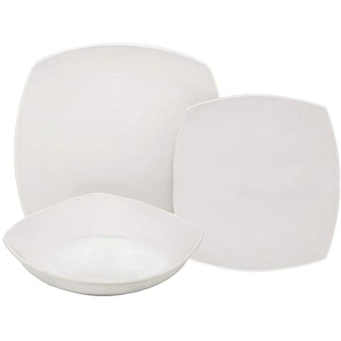 Melange 18-Pcs Square Porcelain Dinnerware Set (White), Service for 6,Dinner Plate, Salad Plate, Soup Bowl (6 Each)