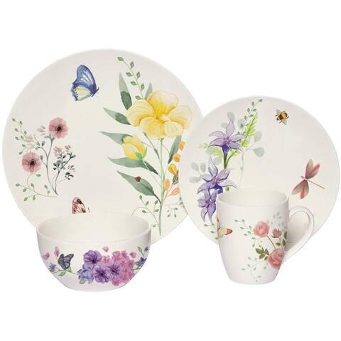 Melange 16-Pcs Place Setting Premium Porcelain Dinnerware Set (Butterfly Garden Collection), Service for 4, (4 Each)