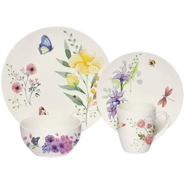 Melange 16-Pcs Place Setting Premium Porcelain Dinnerware Set (Butterfly Garden Collection), Service for 4, (4 Each). Opens flyout.