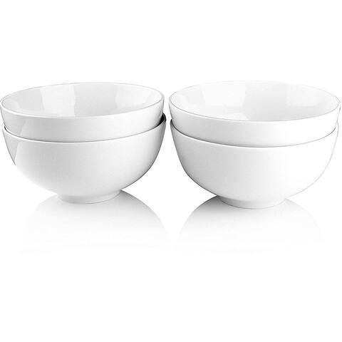 Melange Coupe 24-Pcs Porcelain Soup Bowl Set (White), Service for 24,Soup Bowl (24 Each)