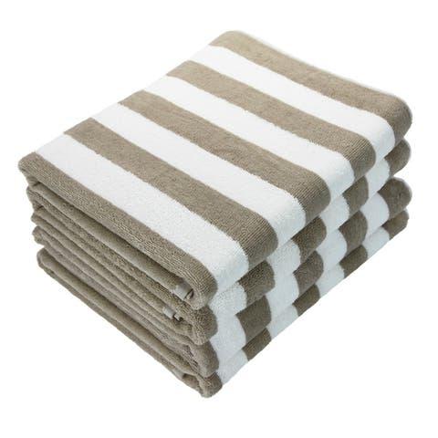 Porch & Den Cannes Cabana Striped Oversized Beach Towel (4-pack)
