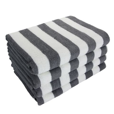 Porch & Den Cannes Cabana Striped Oversized Beach Towels (Set of 4)
