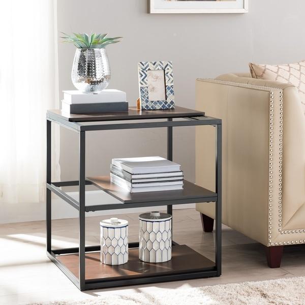 Holly & Martin Decklan Display End Table - Unique Sliding Shelf Design w/ Black Metal Frame. Opens flyout.