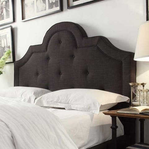 Harper II Tufted High-arching Dark Grey Linen Upholstered Full-size Headboard by iNSPIRE Q Bold