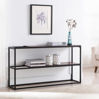 Holly & Martin Decklan Unique Sliding Shelf Design with Black Metal Frame Console Table