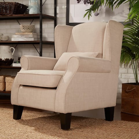 Hayes Ii Wingback Linen Chair With Pillow By Inspire Q Classic