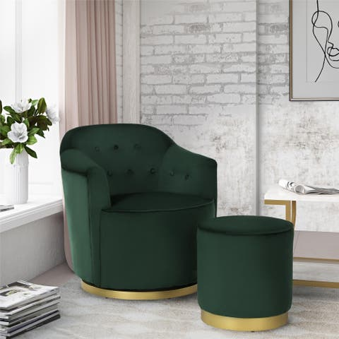 Novogratz Azalea Forest Green Swivel Chair & Ottoman Set