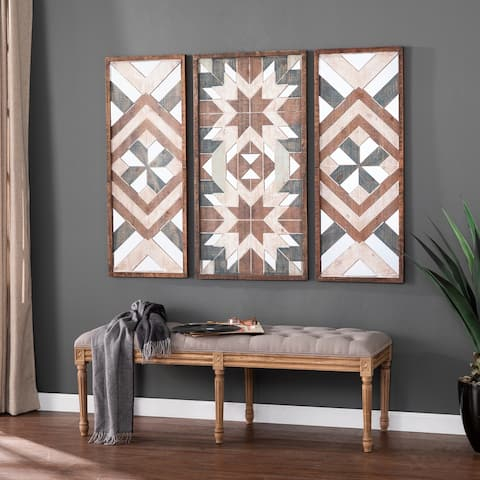 Ivedon Modern Farmhouse Multicolor Wood Wall Panels (Set of 3)