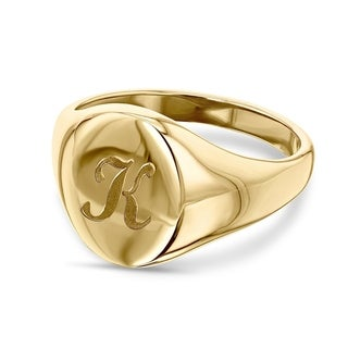 Link to Annello by Kobelli 14k Yellow Gold Personalized Initials Oval Signet Ring - Script Similar Items in Rings